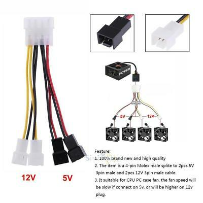 £3.56 • Buy 2pcs 4-Pin Molex To 3-Pin Fan Power Cable Adapter Connector 12v*2 / 5v*2