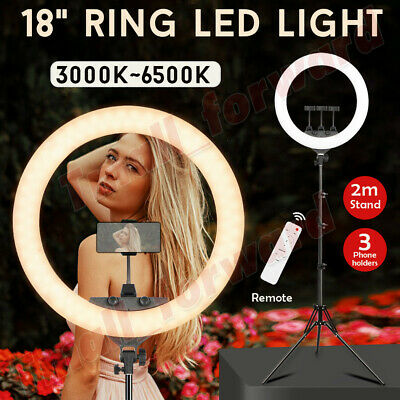 AU69.99 • Buy 18'' Dimmable LED Ring Light 80W 6500K Diffuser Stand Make Up Beauty Studio Bag