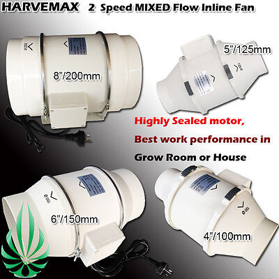 AU158 • Buy HARVEMAX Low Noise 2 Speed Inline Duct Exhaust Fan 4  - 8  Extractor Air Blower