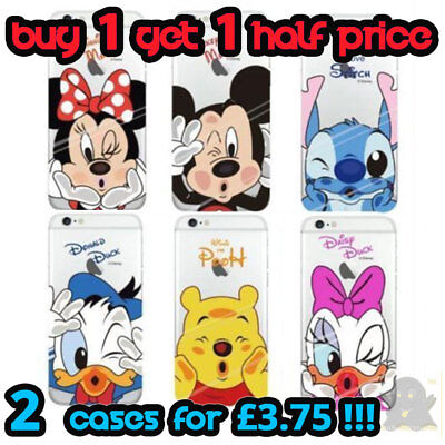 Disney Cartoon Character Transparent Hard Case Cover For IPhone NEW SE 7 X XS XR • 3.49£