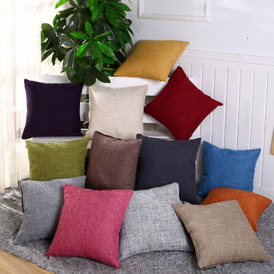 £4.29 • Buy 17  X 17  Beautiful LINEN Cushion Covers 13 Colours Scatter Sofa Pillow Cotton