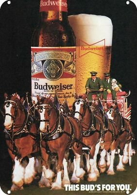 $ CDN30.36 • Buy 1985 Budweiser Beer Decorative Metal Sign - Clydesdale Horses & Dalmatian Dog