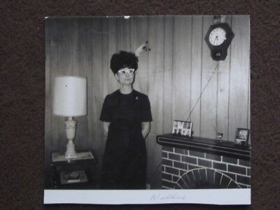£3.62 • Buy WOMAN WITH CATS EYEGLASSES STANDING NEXT O FAKE FIREPLACE Vintage 1960's PHOTO