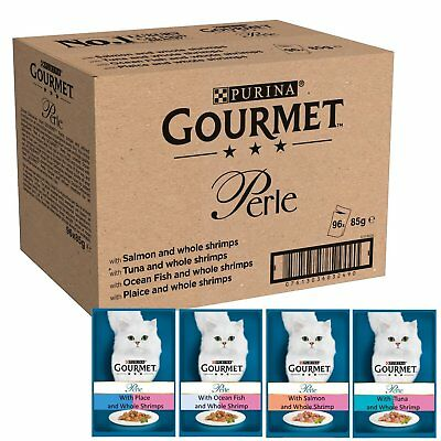 Gourmet Perle Ocean Delicacies In Gravy Salmon Tuna Shrimps Fish 96 Pouches 85g • 38.98£