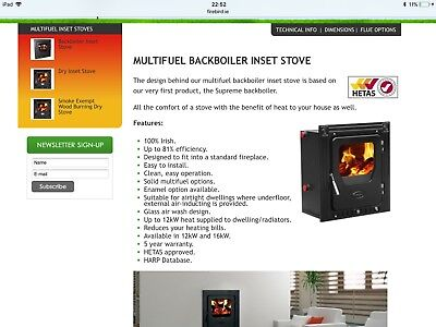 16inch Firebird Multi Fuel Insert Stove 12 KW Used For Only A Few Weeks • 450£