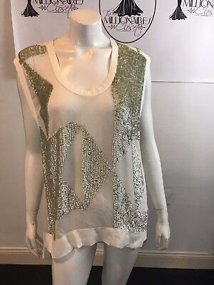 $ CDN105.85 • Buy Iro 101017 White Sheer Silk W/ Silver Sequin Blouse Size 34