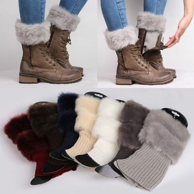 £5.99 • Buy Winter Womens Ladies Knitted Boot Cuffs Fur Knit Toppers Boot Socks Leg Warmers