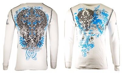 $19.95 • Buy Archaic By AFFLICTION Mens THERMAL Long Sleeve ANTIQUO POLO BIKER GYM MMA M $58