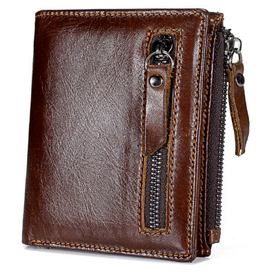 $15.99 • Buy New Genuine Leather Mens Wallet ZIPPER Slim Coin Purse Vintage Retro Style Brown