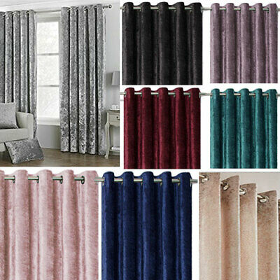 Crushed Velvet Lined Eyelet Ring Top Curtains (Pair Of) Ready Made • 60£