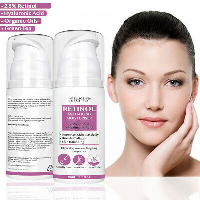 Retinol 2.5% Face Cream Anti Ageing Wrinkles With Hyaluronic Acid Vitamin E & B • 11.99£