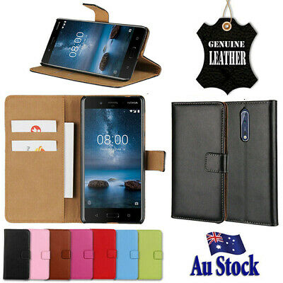 AU9.49 • Buy Genuine Leather Wallet Flip PU Case Cover For Nokia 2.1 3.1 Nokia 6.1 7 Plus