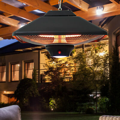 Outsunny 2kw Electric Heater LED Halogen Heating Hanging Light Outdoor Remote • 79.99£
