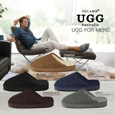 AU39 • Buy 2019 New Premium Wool UGG Mens Classic Scuff/Slipper(Black/Chocolate/Navy/Grey)
