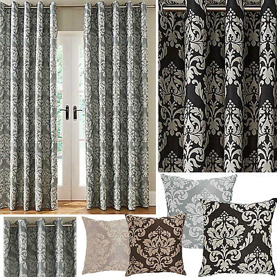 £9 • Buy Hallam Damask Lined Ring Top Curtains (Pair Of) - NOW £10, £15 & £20 TO CLEAR