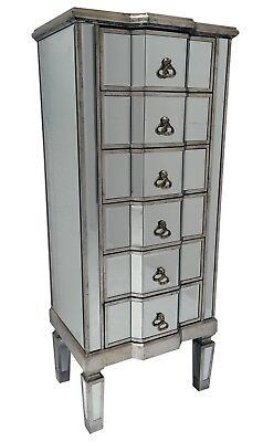 £299.50 • Buy Tall Venetian Mirrored Chest Of 6 Drawers Bedroom Furniture Retro Glass Storage