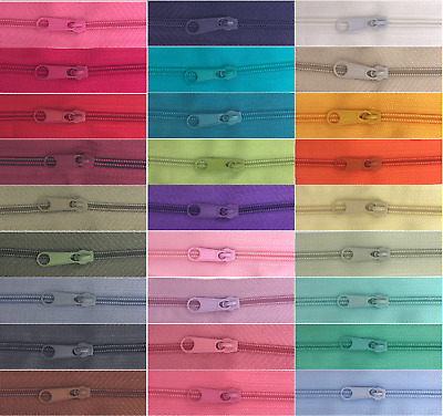 £4.05 • Buy Continuous Zip & Sliders No.3 -40 Colours- Zippers Cushions Upholstery