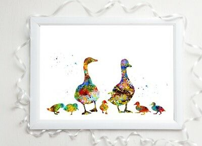 Duck Print Family Gift Glossy  A4 Paint Splatter Picture 6 Unframed Watercolour • 3.99£