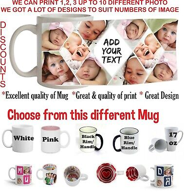 Personalised Mug Collage Photo Image Pictures Add Any Text Gift Tea Coffee Cup • 11.49£
