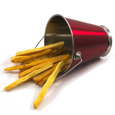 £9.99 • Buy Mini Red Stainless Steel Pail Bucket For Chips Etc 12cm With Base Pack Of 6