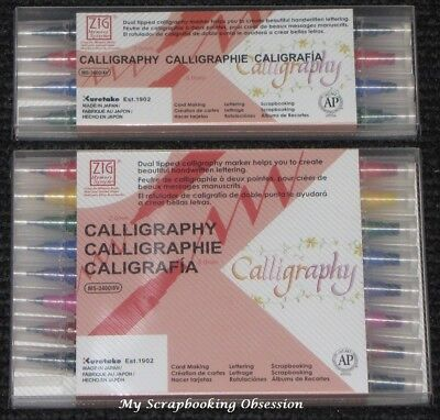 Kuretake Zig CALLIGRAPHY Pens (Choose From 2 Pack Sizes) Dual Tipped Brush   • 10.27£