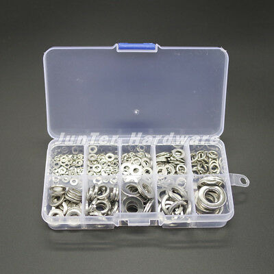 $6.99 • Buy 260pcs M2.5-M10 A2 Stainless Steel Spring Washer Flat Washer Assortment  NO.W001