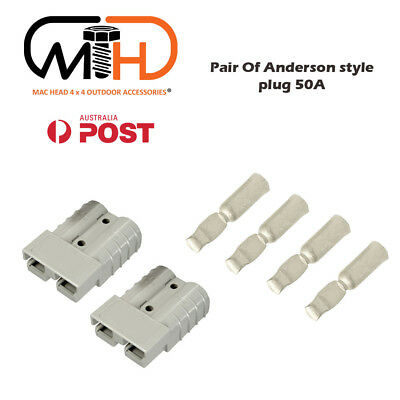 AU5.88 • Buy Pair Anderson Style Plug Connector 50AMP Caravan Trailer Solar 6AWG GREY AU