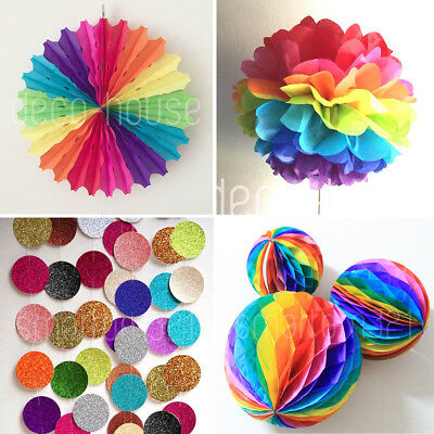 Rainbow Party Hanging Paper Decoration Wedding Bridal Baby Shower Kids Birthday  • 3.59£