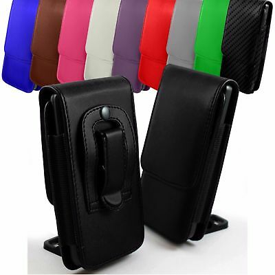 PU Leather Vertical Faux Belt Holster Case Cover For Apple Phone Models • 3.99£