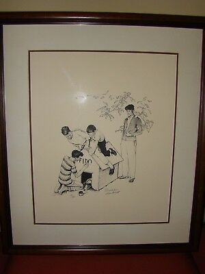 $ CDN2445.10 • Buy NORMAN ROCKWELL Fido's Dog House Signed Limted Edition Lithograph