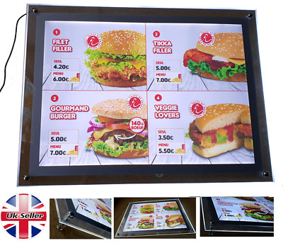A2 Led Crystal Frame Light Box For Advertising Or Takeaway Menu Display • 140£