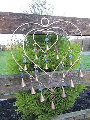 £19.99 • Buy FairTrade Hand Made Metal Love Heart Bells Valentine Windchime Wind Chime Mobile