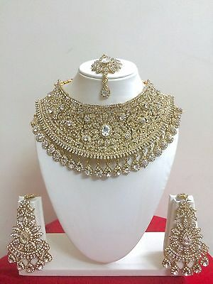 $27.29 • Buy Indian Bollywood Style Fashion Gold Plated Bridal Jewelry Necklace Set