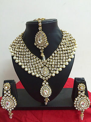 $27.29 • Buy Indian Bollywood  Style Diamante Pearl Gold Tone Bridal Fashion Jewelry Set