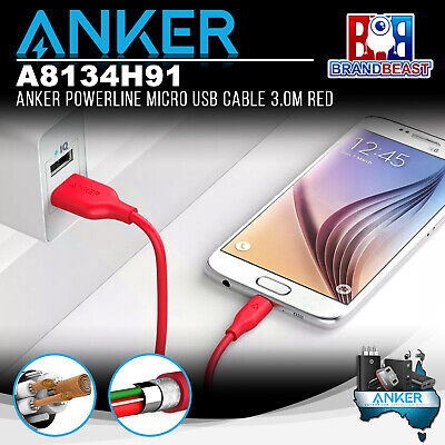 AU22.95 • Buy Anker A8134H91 PowerLine 3.0m Android Smartphones Micro USB Charging Cable - Red