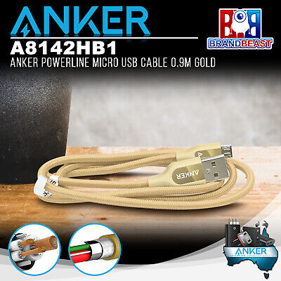 AU22.95 • Buy Anker A8142HB1 PowerLine+ Micro 0.9m Android Smartphones USB Cable W/ Pouch Gold