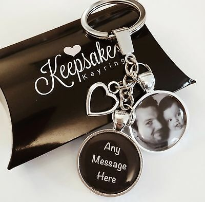 Personalised Photo Keyring Any Message Birthday Christmas Present Gift Box • 7.45£