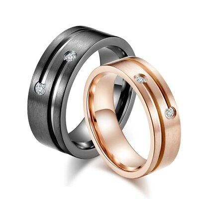 $4.54 • Buy 6mm Gold/Rose Gold Titanium Steel AAA CZ Wedding Party Band Couple Rings Sz 5-11