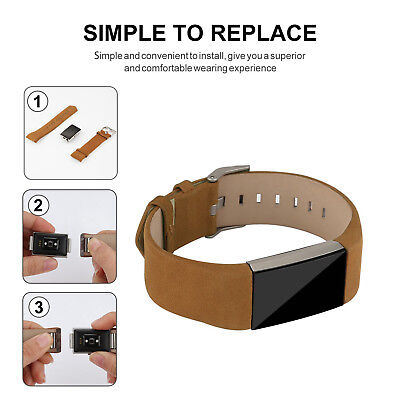 AU13.55 • Buy Wristband Genuine Leather Wrist Watch Band Replacement For Fitbit Charge 2 Brown