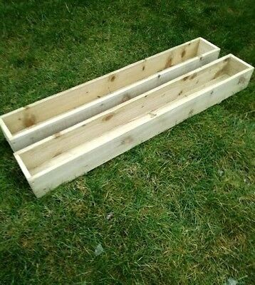 PAIR Of TANALISED WOODEN GARDEN PLANTERS, Patio, Window Box, Various Sizes • 44£