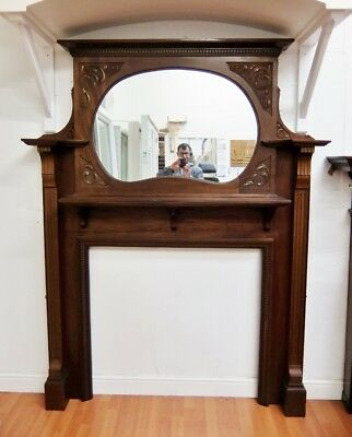 Solid Mahogany Fire Surround Fireplace 2060x1610mm Wooden Timber • 655.20£