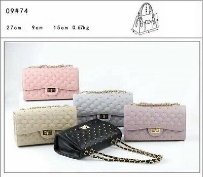 Quilted Shoulder Handbag Gold Chain Cross Body High Quality Bag Faux Leather A82 • 14.99£