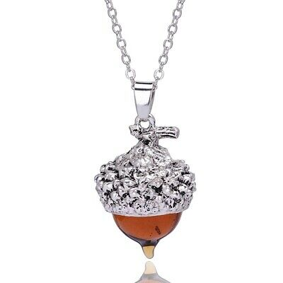 (1) Amber Glass Acorn Necklace Pendant Antique Silver With 32  Long Bead Chain • 11.95$