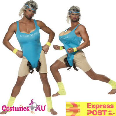 AU44.64 • Buy Mens Lets Get Physical Gym Work Out Costume Funny Humour Party 80s Fancy Dress