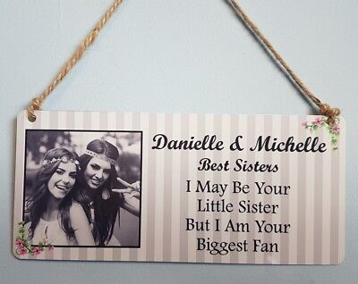 Personalised Sister Plaque - Best Sister Hanging Metal Sign Gift Family  • 4.99£
