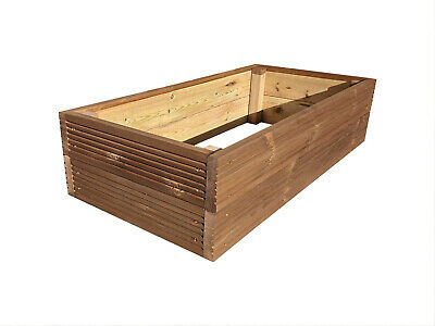 Rectangle Decking Raised Garden Bed - Treated Timber - 9 Colours | Veg Flowers • 33.95£