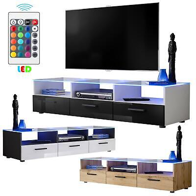 TV Cabinet High Gloss Fronts Glass Top Drawers Storage Unit Modern LEDs Black • 195£