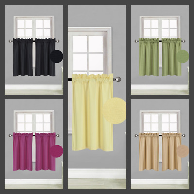 $11.39 • Buy 1 PAIR Kitchen Rod Pocket Silk Window Tier Curtain Lined Blackout 30 X 36  RS5