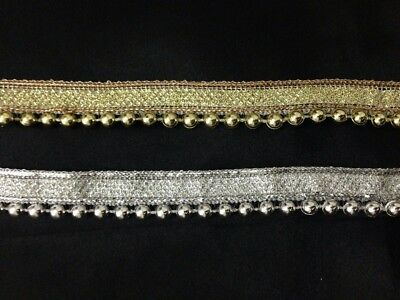 Silver Gold 20mm Vintage Style Pearl Beaded Lace Edging Trim Ribbon Wedding 1Yrd • 0.99£