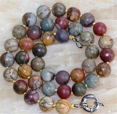 £4.99 • Buy 20 Inch Natural 10mm Multicolor Picasso Jasper Gemstone Round Beads Necklaces